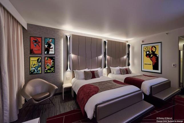 Un'anteprima di una delle stanze che saranno presenti al Disney's Hotel New York  - The Art of Marvel