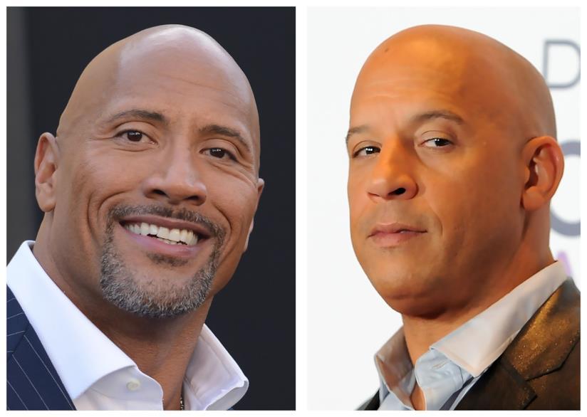 Primo piano di The Rock e Vin Diesel