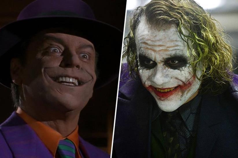 Primi piani di Jack Nicholson e Heath Ledger nei panni di Joker