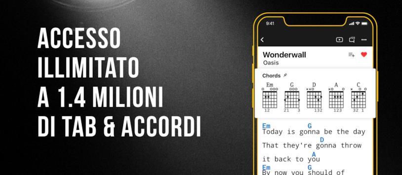 Immagine promozionale dell'app di Ultimate-Guitar per smartphone
