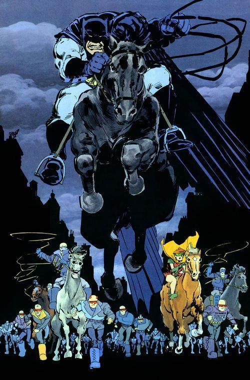 Batman a cavallo in una pagina de Il Ritorno Del Cavaliere Oscuro