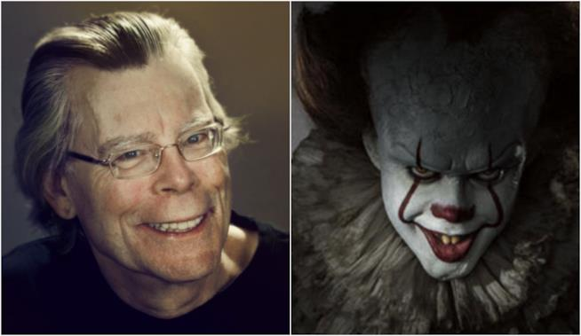 Un collage tra Stephen King e Pennywise