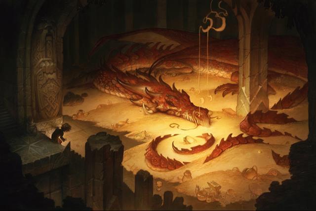 La tana del drago Smaug con il tesoro