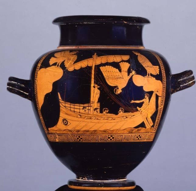 Il Siren Vase che mostra Una scena di Ulisse tratta dall'Odissea