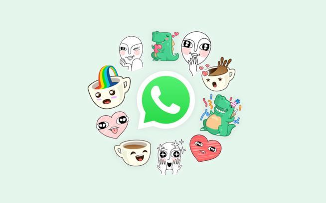 Il logo di WhatsApp circondato da alcuni adesivi
