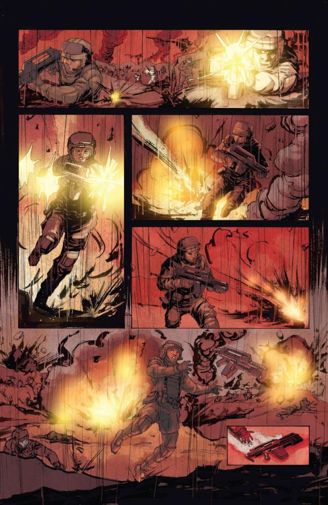 Tavola di Aliens 2 con sequenze di guerra