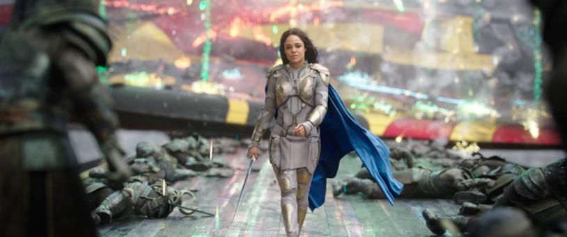 Tessa Thompson nel ruolo di Valchiria in Thor: Ragnarok