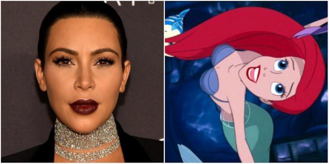 Un collage tra il volto di Kim Kardashian e Ariel