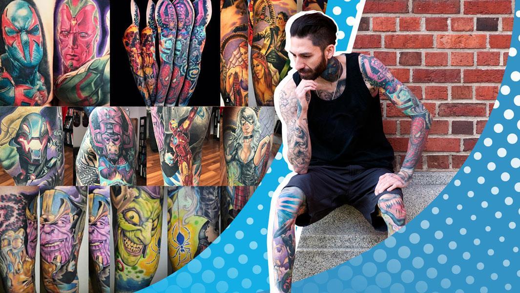 Rick Scolamiero ha 31 tatuaggi Marvel sul corpo