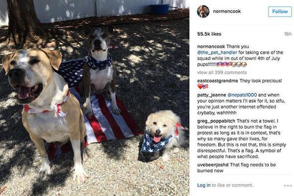 I cani di Kaley Cuoco dissacrano la bandiera americana