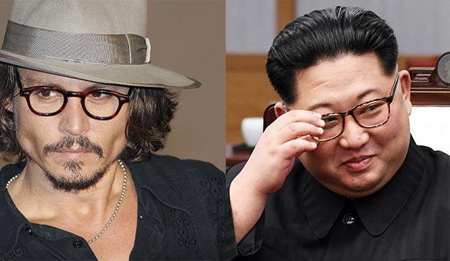 Collage di Kim Jong-un e Johnny Depp