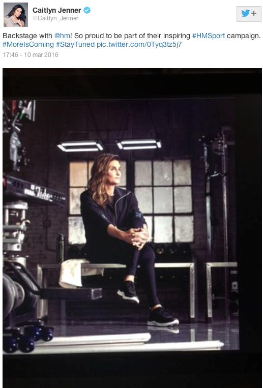 La foto della campagna di H&M postata da Caitlyn Jenner su Twitter