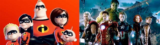 La famiglia de Gli Incredibli sulla sinistra e il team degli Avengers sulla destra