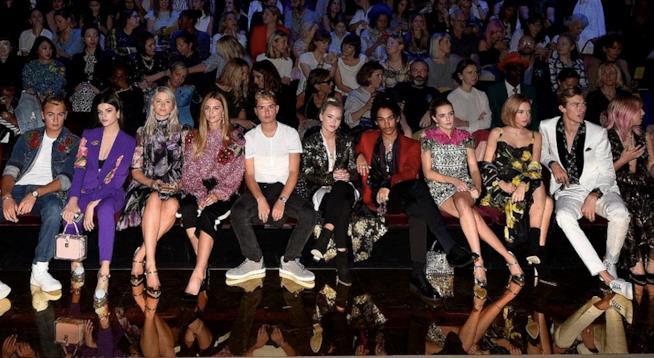 La prima fila della sfilata di Dolce & Gabbana,composta da figli di e giovani celebrity