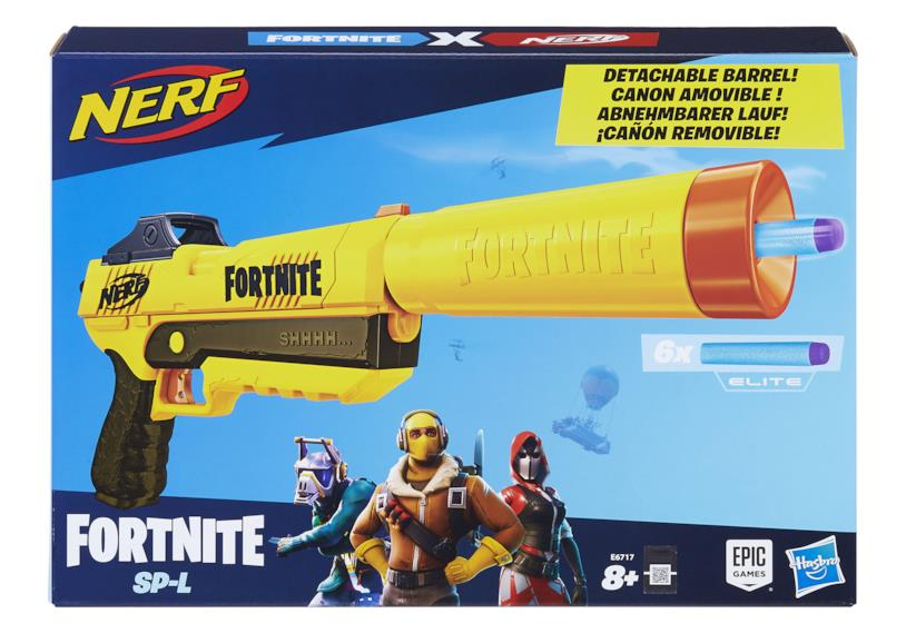 Una delle scatole dei blaster Nerf di Fortnite firmati Hasbro ed Epic Games
