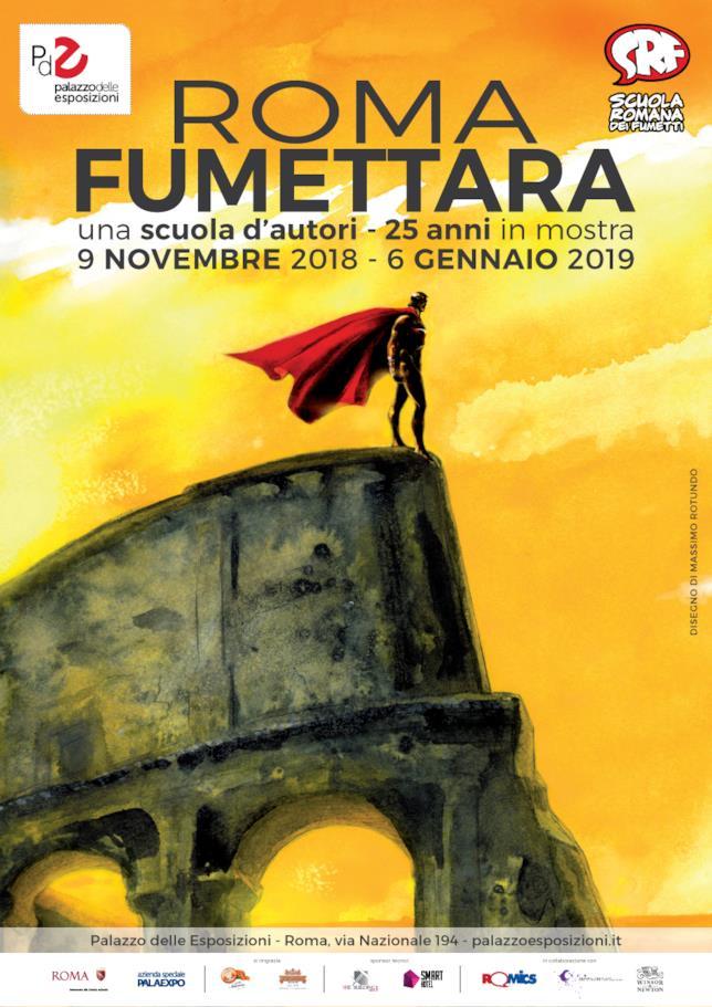 La locandina di Roma Fumettara, la mostra dedicata agli autori della Scuola Romana di Fumetti