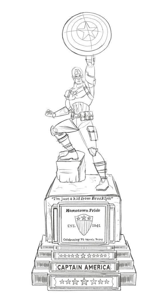 La statua di Capitan America che commemora i suoi 75 anni
