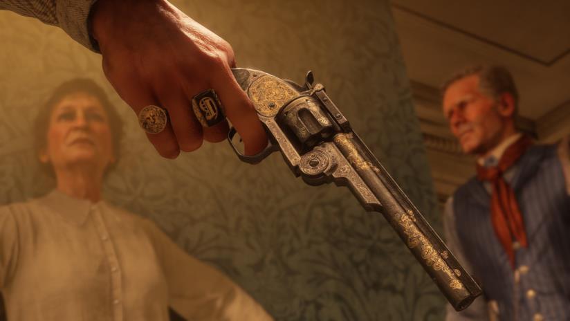 Arthur Morgan impugna la sua fedele pistola in RDR2