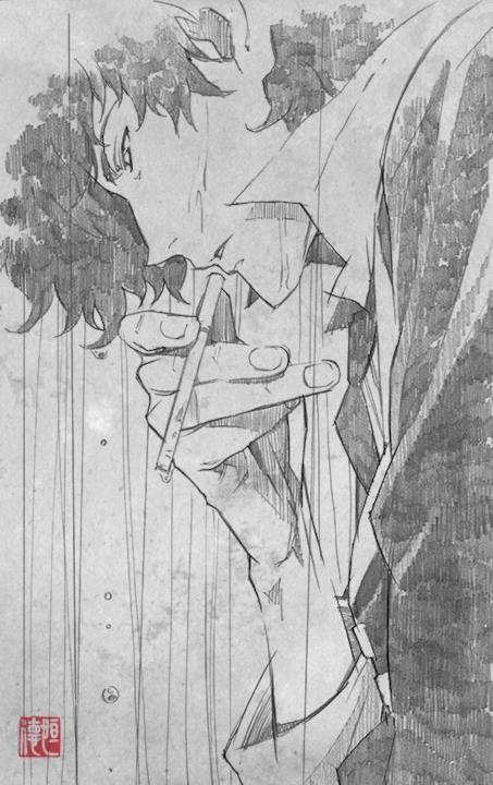 Spike Spiegel fuma sotto la pioggia in uno schizzo di Tsunenori Saito