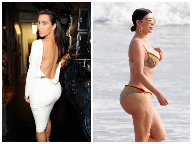 Lo scatto incriminato di Kim Kardashian con la cellulite