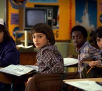 Dustin, Will, Mike e Lucas a scuola
