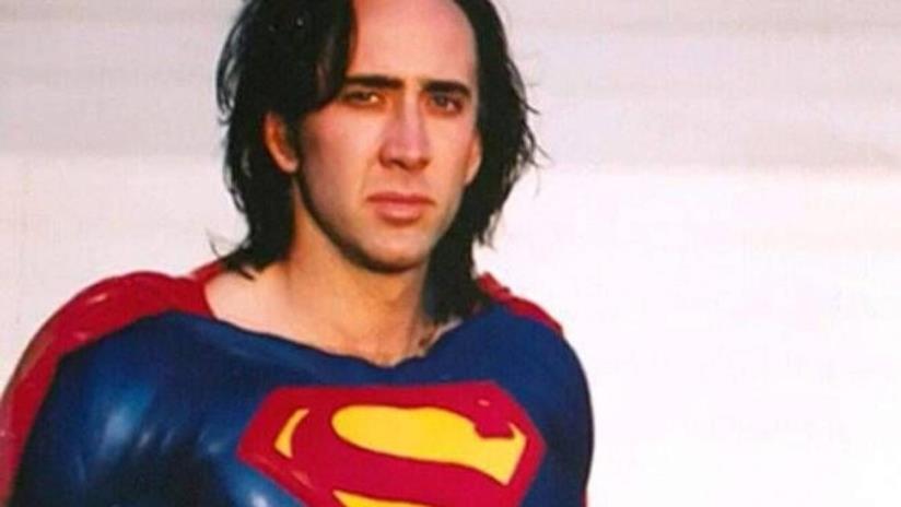 Nicolas Cage in una prova costume per Superman Lives
