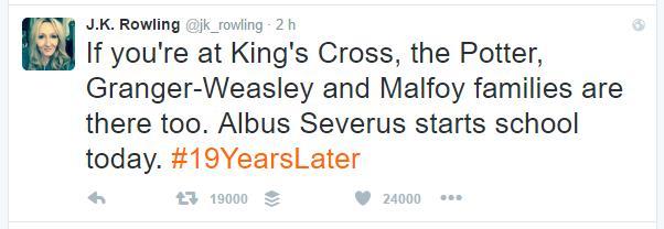 JK Rowling dà il benvenuto ad Albus Severus a Hogwarts il 1 settembre 2016