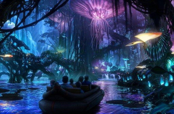 Immagine del fiume Na'vi nel parco a tema Avatar