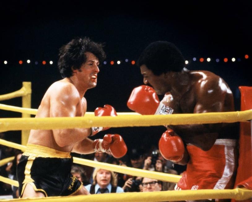 Rocky Balboa contro Apollo Creed sul ring in Rocky II del 1979