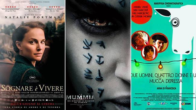 I poster dei film Sognare È Vivere, La Mummia e Due Uomini, Quattro Donne e Una Mucca Depressa