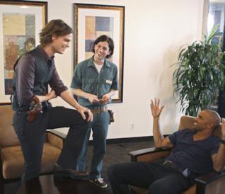 Uno scatto dal set di Criminal Minds con Spencer Reid e Derek Morgan