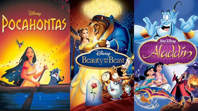Pocahontas, Aladdin e La Bella e la Bestia Disney