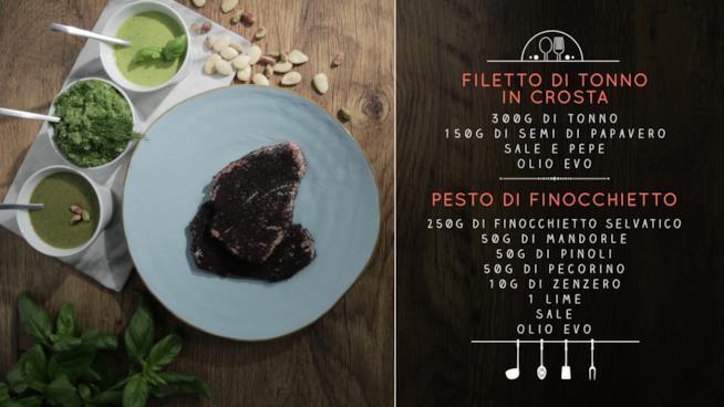 La ricetta del filetto di tonno in crosta con pesto al finocchietto