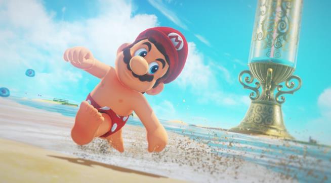 Mario corre senza maglietta in Super Mario Odyssey