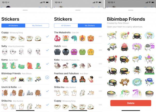 Screen di alcuni archivi di adesivi utilizzabili su WhatsApp