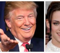 Primo piano di Kristen Stewart e Donald Trump