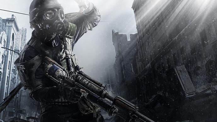 Immagine in CGI di un soldato in uniforme e maschera anti-gas, con sfondo post-apocalittico