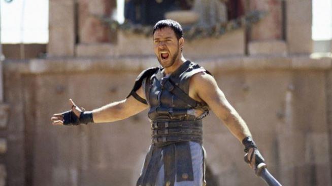 Una scena tratta da Il Gladiatore con Russell Crowe