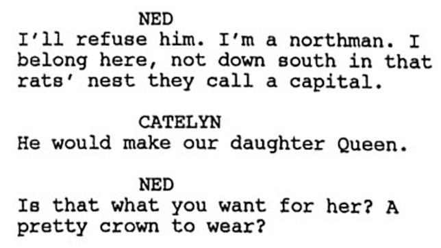 Lo script di GoT della Cushing Memorial Library: Ned, Catelyn e Sansa regina