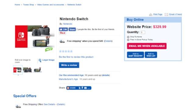 Nintendo Switch, prezzo sito canadese