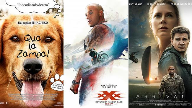 Le locandine dei film Qua la Zampa!, xXx- Il Ritorno di Xander Cage e Arrival