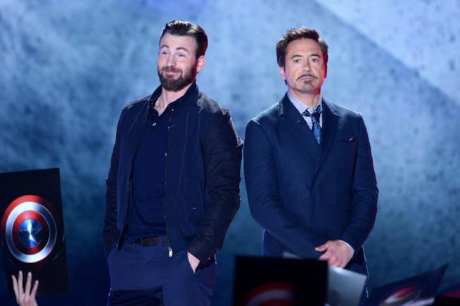 Chris Evans (Capitan America) e Robert Downey Jr. (Tony Stark)