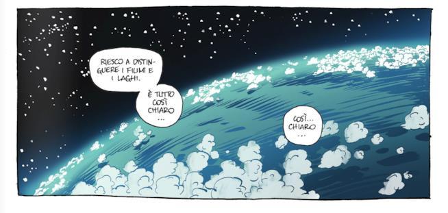 Tavola della graphic novel Da quassù la Terra è bellissima