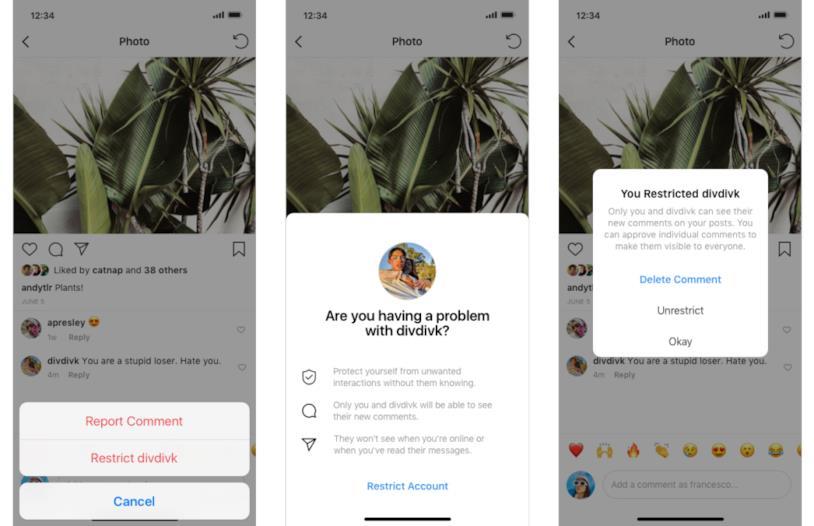 La funzione Restrict in funzione su Instagram