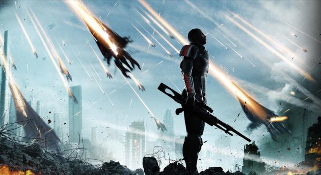 Il comandante Shepard tra le macerie della Terra in Mass Effect 3