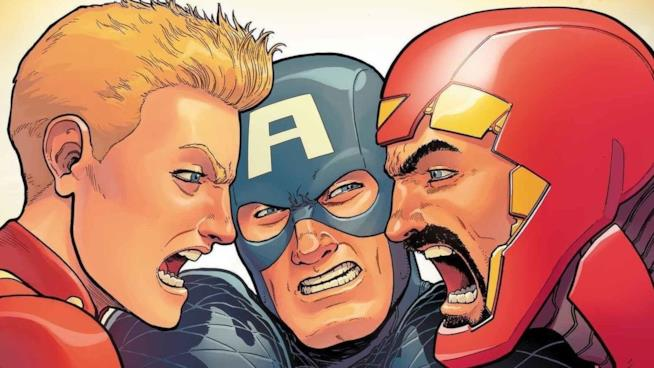 Capitan Marvel, Capitan America e Iron Man litigano in Civil War II