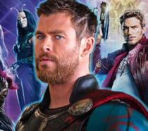 Chris Hemsworth assieme al cast di Guardiani della Galassia Vol. 2