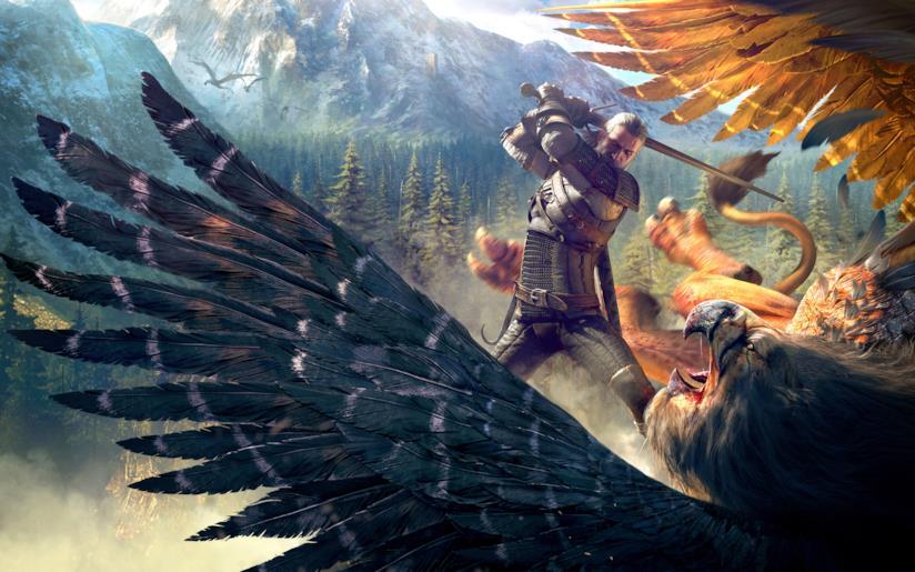 Geralt combatte un grifone reale in un artwork di The Witcher 3