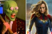 A sinistra Jim Carrey nel film The Mask, a destra Brie Larson nei film Captain Marvel