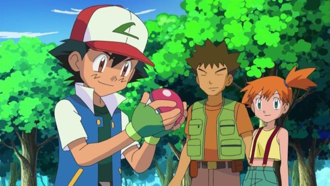 Ash, Misty e Brock nella prima stagione di Pokémon